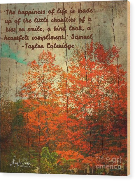 The Happiness Of Life By Taylor Coleridge Wood Print