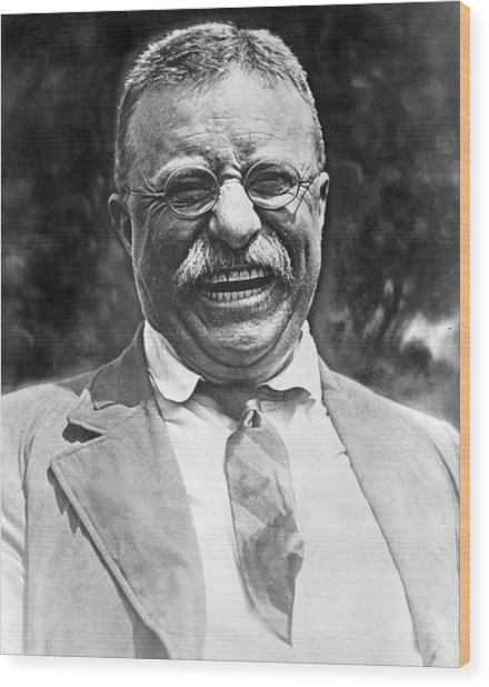 Theodore Roosevelt Laughing Wood Print