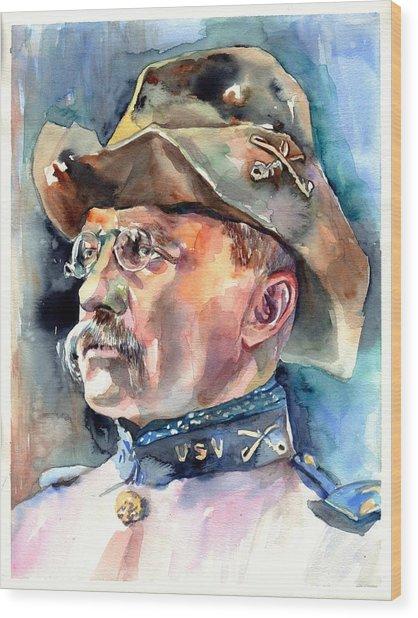 Theodore Roosevelt Portrait Watercolor Wood Print