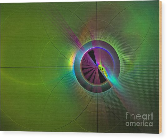 Wood Print featuring the digital art Theory Of Green - Abstract Art by Sipo Liimatainen
