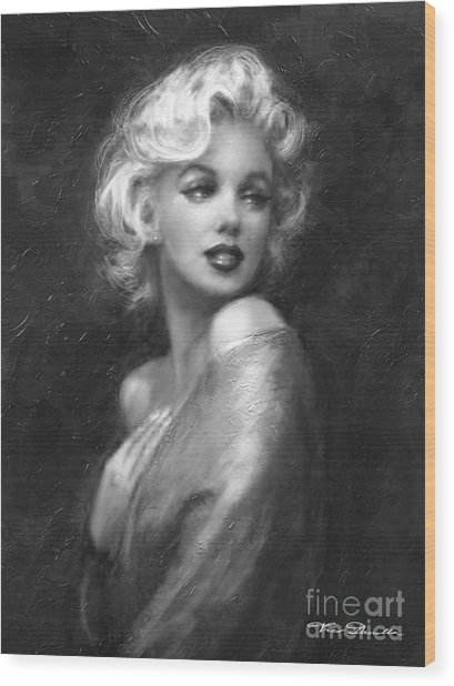 Theo's Marilyn Ww Bw Wood Print