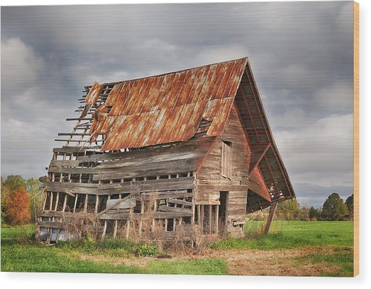 There Was A Crooked Barn Wood Print