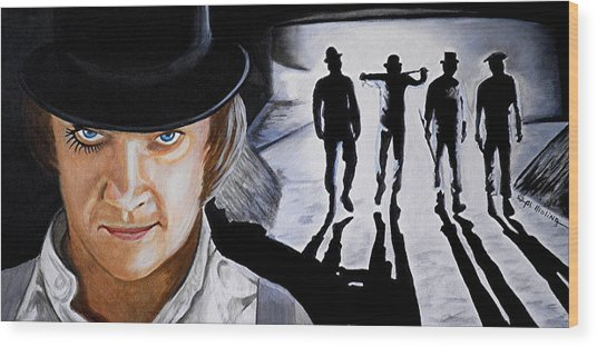 There Was Me That Is Alex And My Three Droogs Wood Print