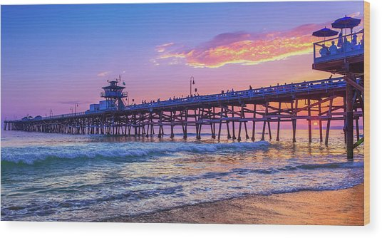 There Will Be Another One - San Clemente Pier Sunset Wood Print