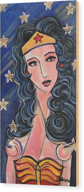 Wood Print featuring the painting There's A Wonder Woman In Us All by Laurie Maves ART