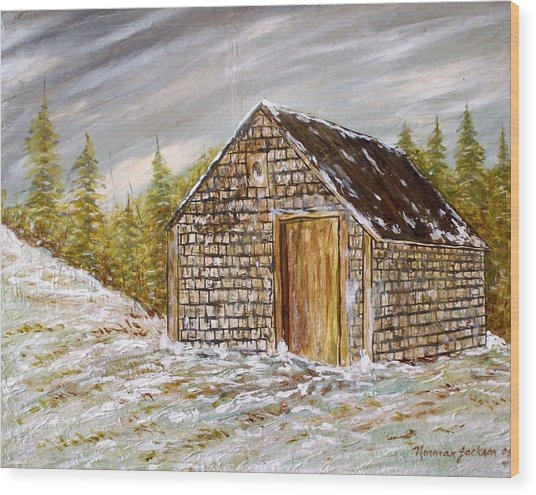 Thewoodshed Wood Print by Norman F Jackson