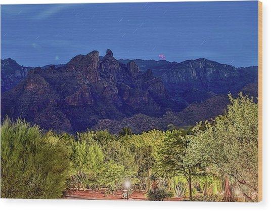 Wood Print featuring the photograph Thimble Peak At Night Textured by Dan McManus