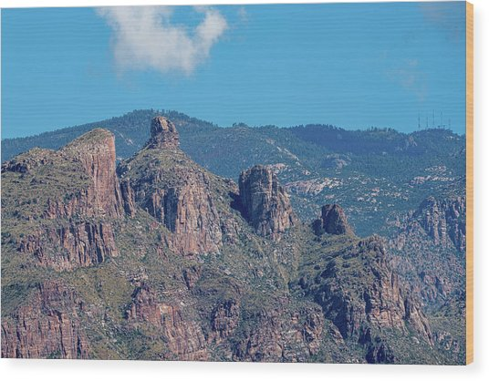 Wood Print featuring the photograph Thimble Peak With Summer Greenery by Dan McManus