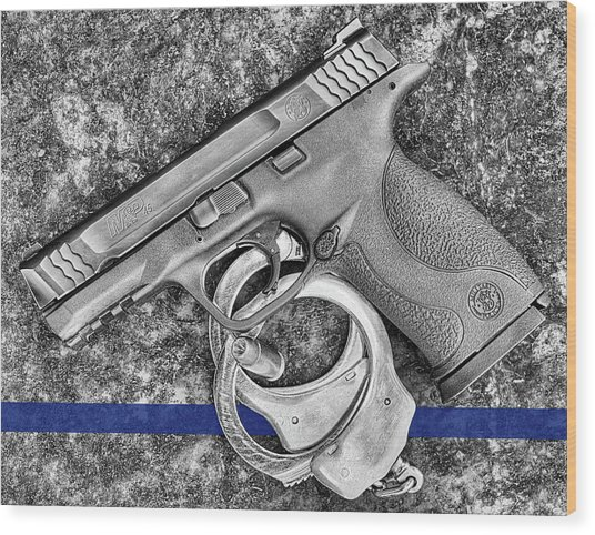 Thin Blue Line 45 Wood Print by JC Findley