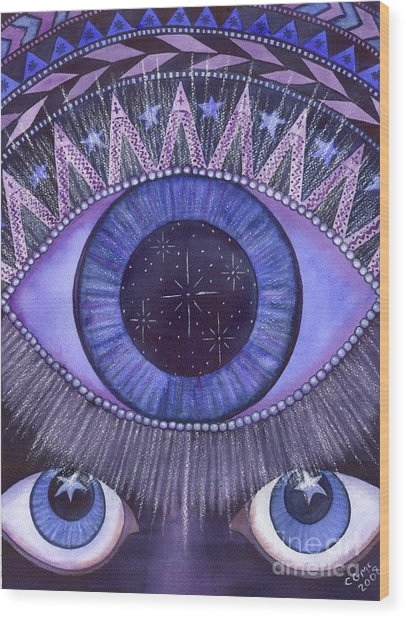 Third Eye Chakra Wood Print by Catherine G McElroy