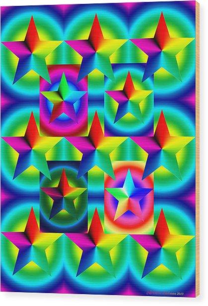 Thirteen Stars With Ring Gradients Wood Print