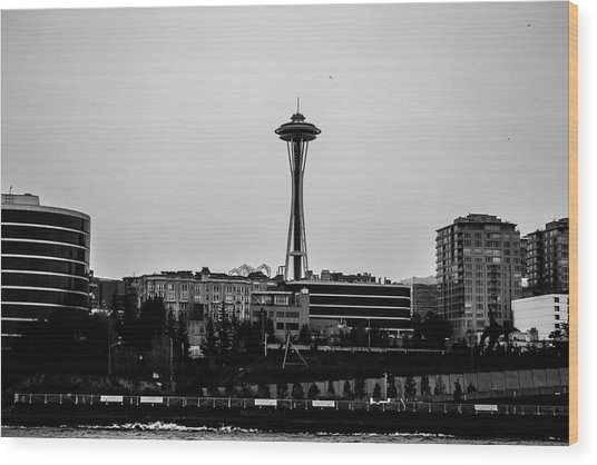 This Is Seattle Black And White Wood Print