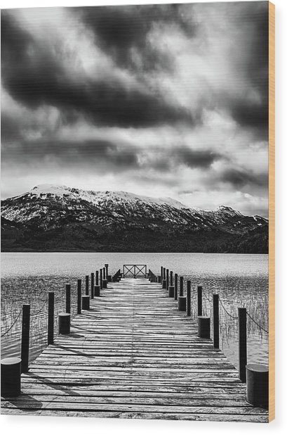 Dramatic Black And White Scene In The Argentine Patagonia Wood Print