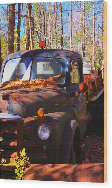 This Old Truck Wood Print by Tom Johnson