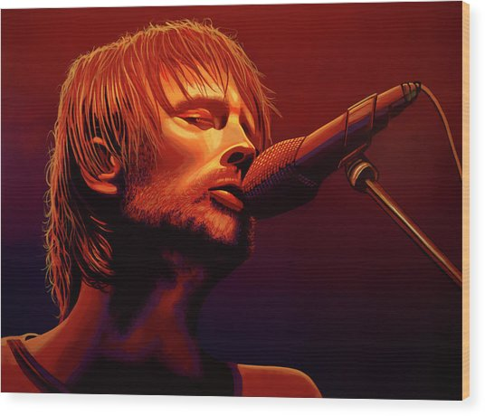 Thom Yorke Of Radiohead Wood Print