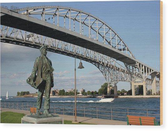 Thomas Edison And Blue Water Bridge 1 Wood Print