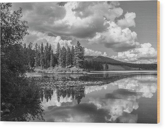 Thompson Lake In Black And White Wood Print