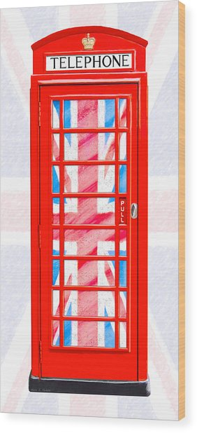 Thoroughly British Flair - Classic Phone Booth Wood Print by Mark Tisdale