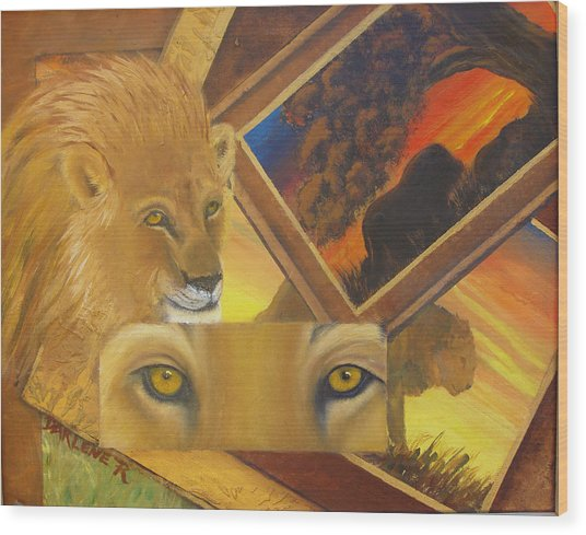 Those Eyes Lion Wood Print by Darlene Green