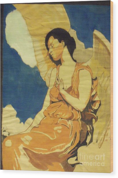 Thoughtful Angel Wood Print