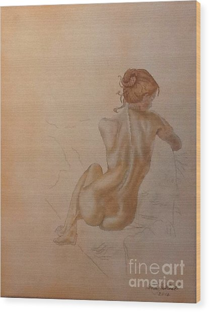 Thoughtful Nude Lady Wood Print