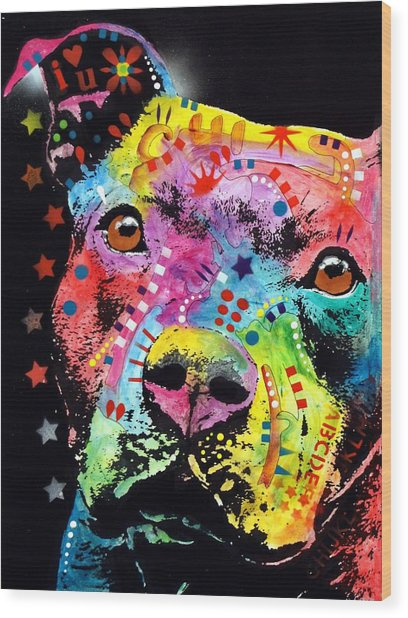 Thoughtful Pitbull I Heart U Wood Print