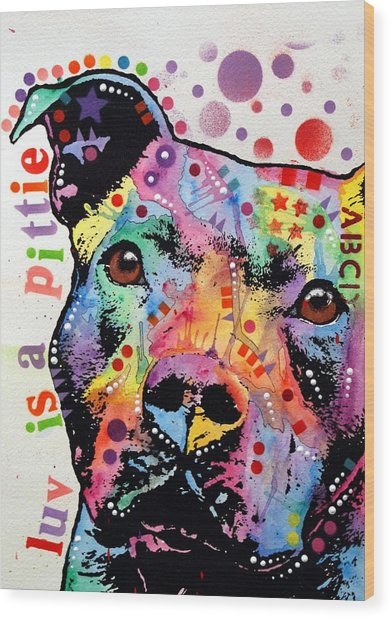 Thoughtful Pitbull Luv Is A Pittie Wood Print
