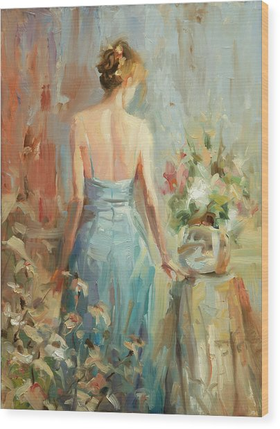Wood Print featuring the painting Thoughtful by Steve Henderson