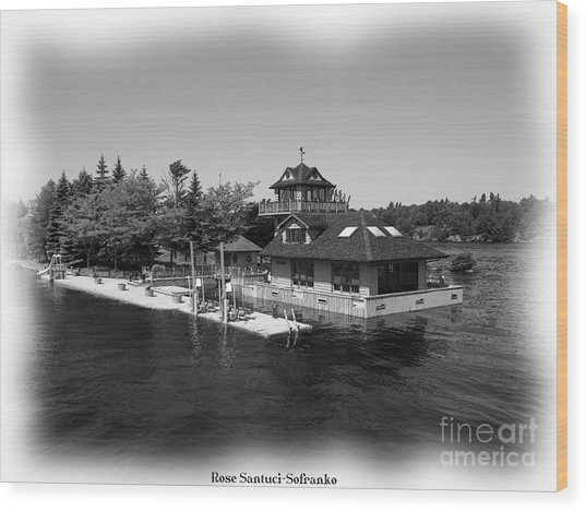 Thousand Islands In Black And White Wood Print