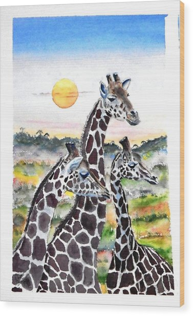 Three Giraffes    Sold Wood Print