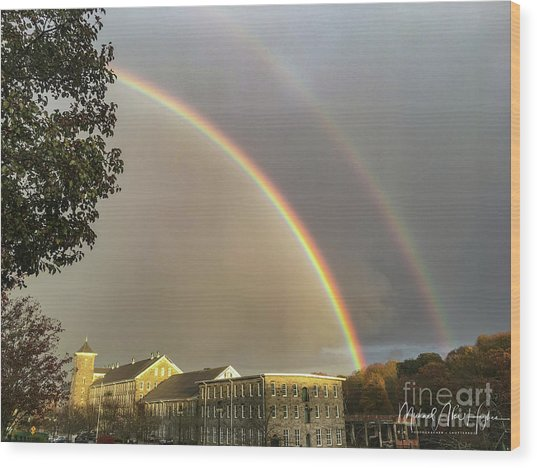 Thread City Double Rainbow  Wood Print