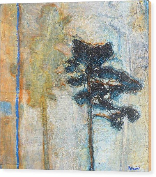 Thread Tree Wood Print by Sandrine Pelissier