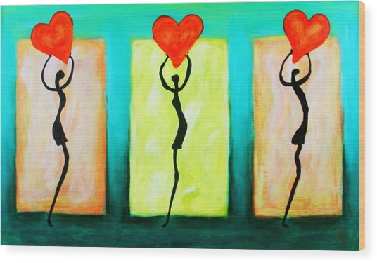 Three Abstract Figures With Hearts Wood Print