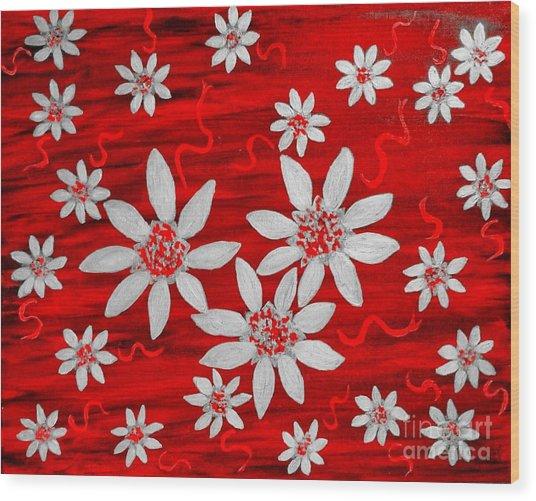 Three And Twenty Flowers On Red Wood Print