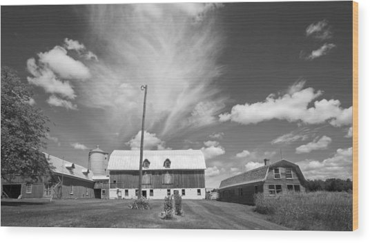 Three Barns With Clouds On Clark Lakes Road Wood Print by Stephen Mack