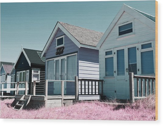Three Beach Huts Blue Wood Print