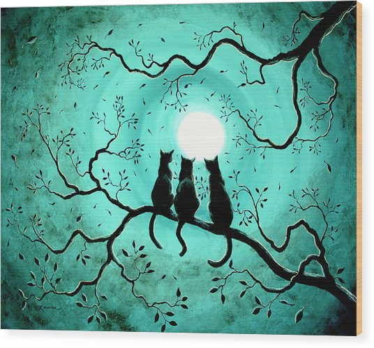 Three Black Cats Under A Full Moon Wood Print