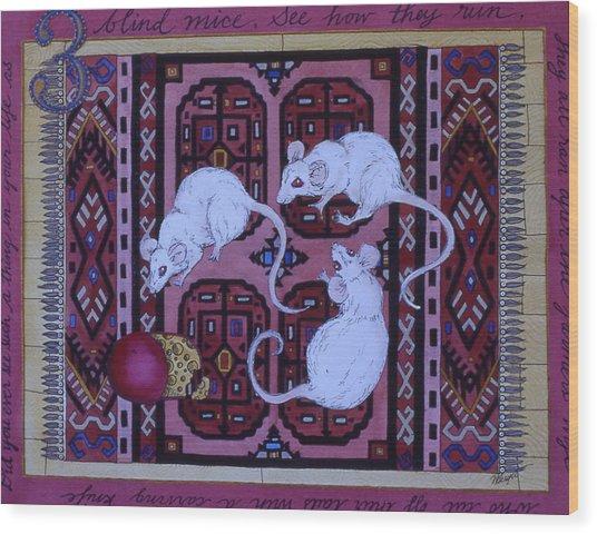Three Blind Mice Wood Print by Victoria Heryet