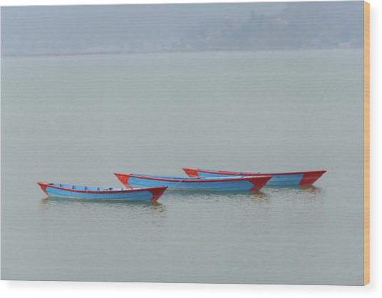 Three Blue Boats On Phewa Lake In Pokhara Wood Print