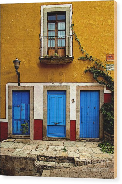 Three Blue Doors 2 Wood Print by Mexicolors Art Photography