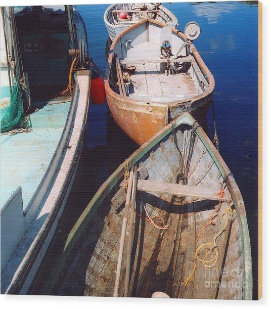 Three Boats Wood Print by Andrea Simon