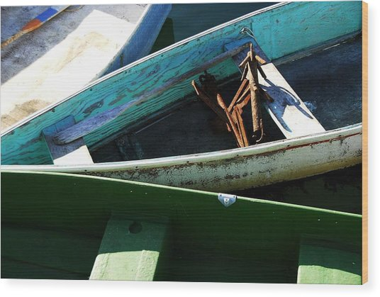 Three Boats Wood Print