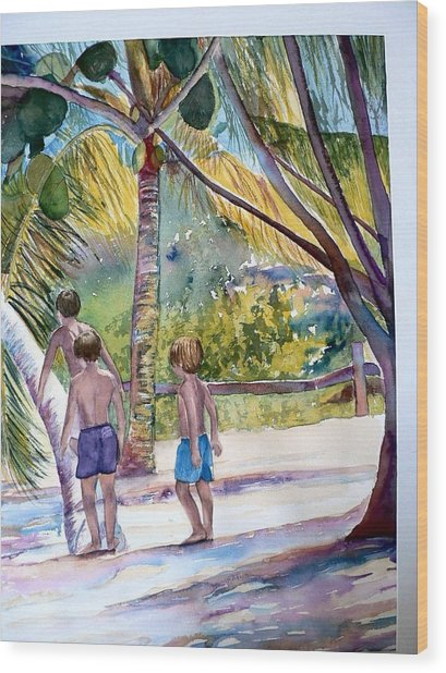 Three Boys Climbing Wood Print
