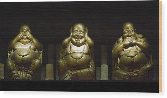 Three Buddhas Wood Print