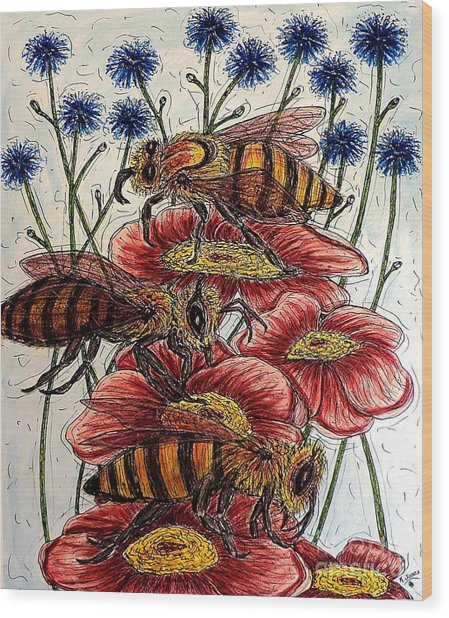 Three Busy Bees Wood Print