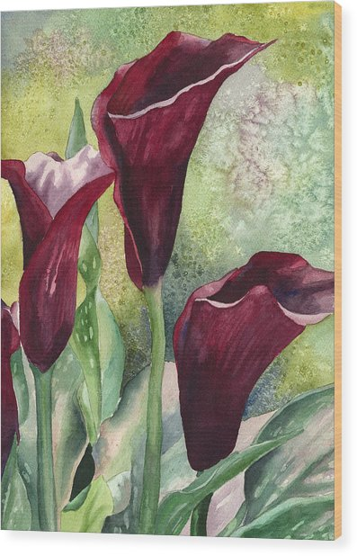 Three Callas Wood Print