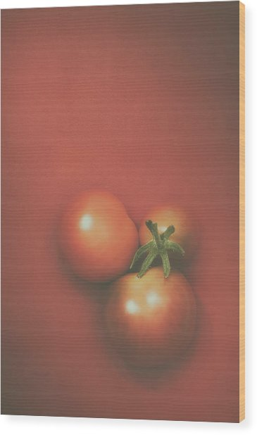 Three Cherry Tomatoes Wood Print