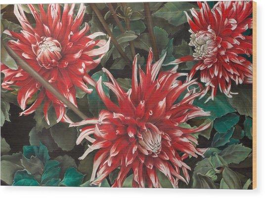 Three Dahlias Wood Print by Greg Stair
