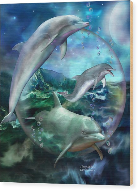 Wood Print featuring the mixed media Three Dolphins by Carol Cavalaris