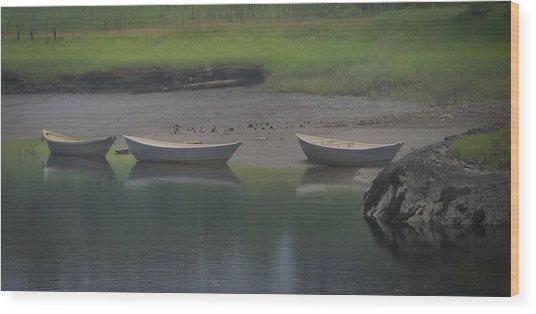 Three Dories Wood Print